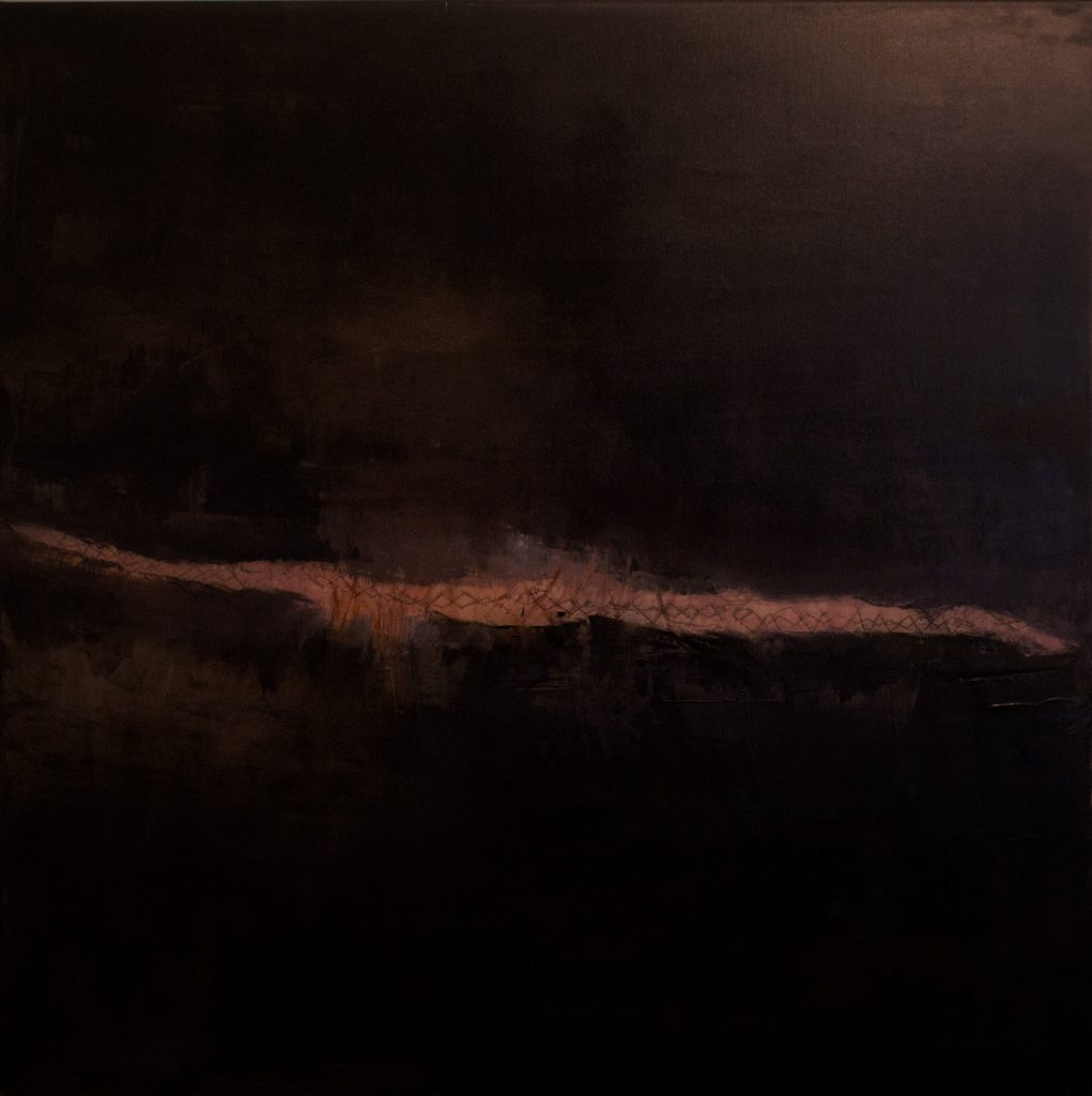 Jules Allan - Extant, 90cm x 90cm, oil, plaster and stitching on canvas