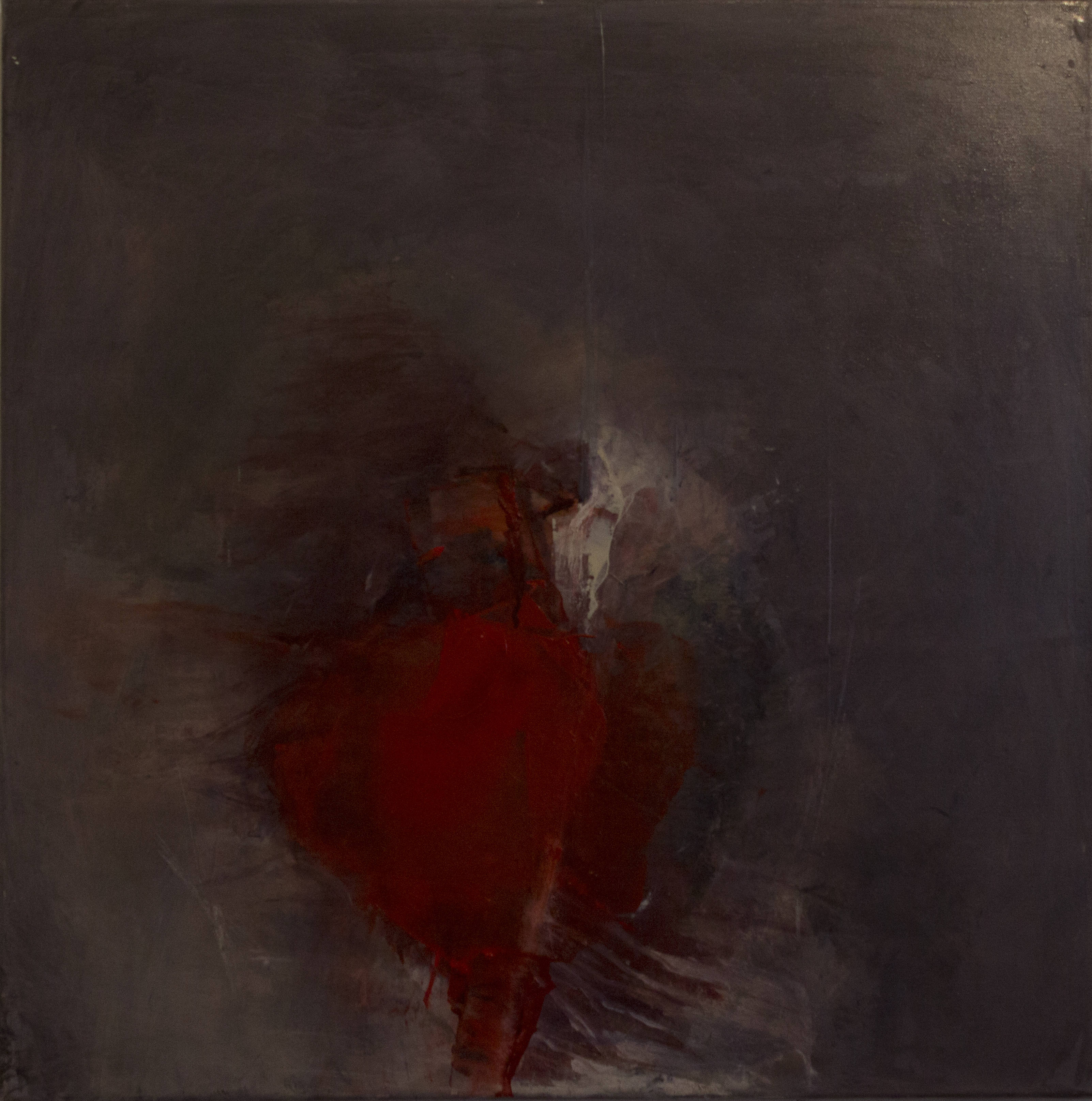 Jules Allan - Being 2 small red shape, 50cm x 50cm, oil on canvas