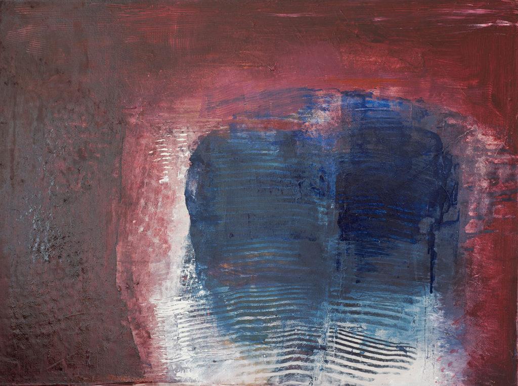 Jules Allan, Blue Centre, Mixed media on canvas, 80 x 60cm
