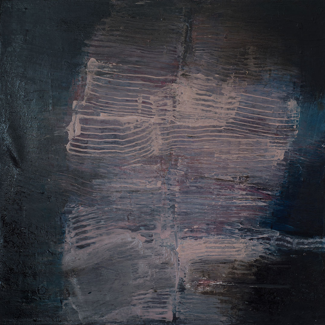 Jules Allan, Blurred lines 2, 60 x 60cm, Mixed media on canvas