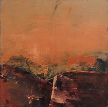 Jules Allan, Burnt orange, mixed media on canvas 50x50cm