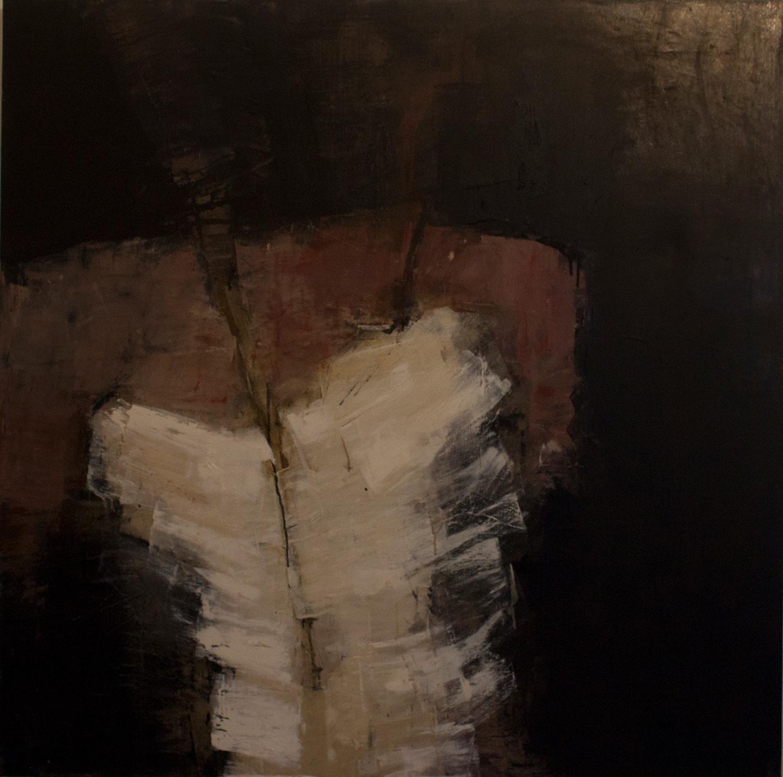 Jules Allan - Form in white, 100cm x 100cm, oil on canvas