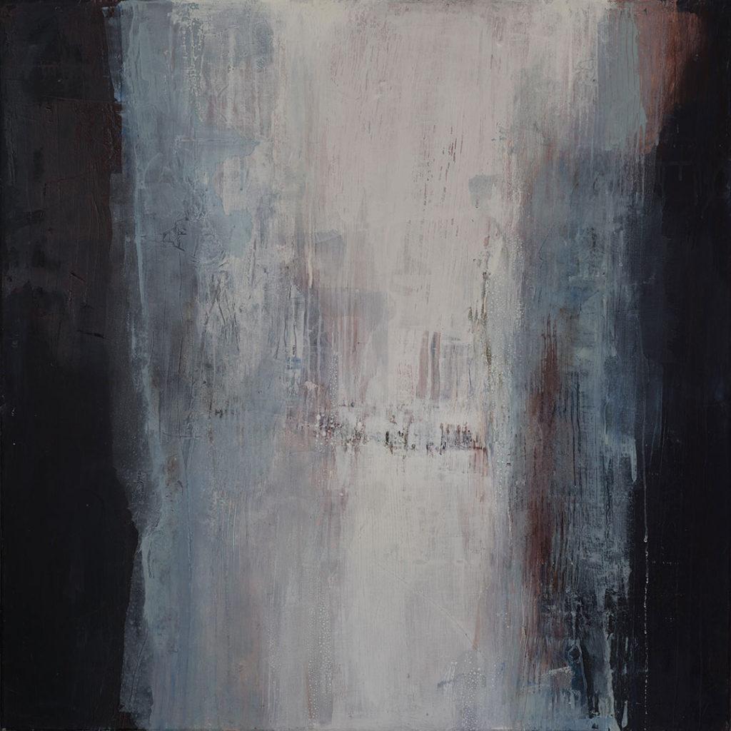 Jules Allan, Veiled, 90 x 90cm, Mixed media on canvas